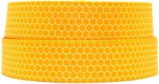 "Grosgrain Ribbon 7/8"" & 1.5"" Bumble Bee Yellow Honeycomb Honey Bee Pots Printed."