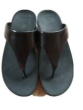 Ladies Black FITFLOP PATENT LEATHER TOE-POST SANDALS SIZE UK5