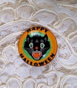 Happy Halloween Cat 30mm Glitter Unset Handmade Glass Art Bubble Cameo Cabochon