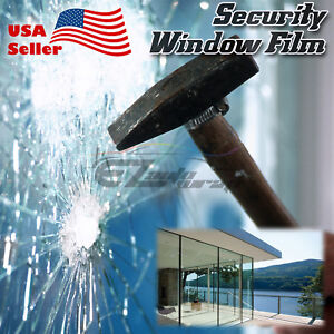 Clear Security Window Film Shatterproof Glass Protection Anti Shatter Safe 4Mil