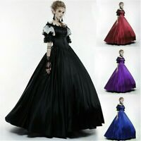 Lady Lolita Victorian Gothic Dress Lace Off-shoulder Steampunk Evening Retro Red