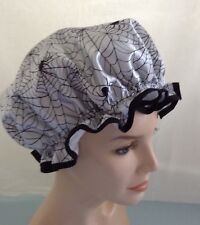 QUALITY SHOWER CAP  silvery white satin with black spiders and web water proof