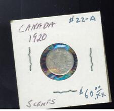 1920 Canada 5 Cents Y 22A Silver Coin