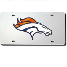 Denver Broncos Mirrored Laser Cut License Plate Laser Tag
