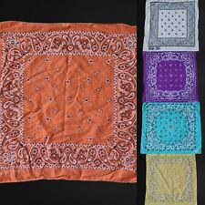Vintage Bandana Paisley Fast Color Lot Of 5 Bright Multi Color made in usa