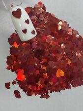 Valentine's Red Hearts 2 sizes Nail Glitter | 1 TSP | Nail Art & Acrylic