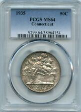 1936  50c Connecticut Silver Commemorative Coin PCGS MS 64