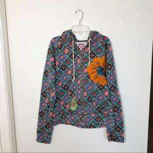 Lucky Brand Vintage Women's Floral Boho Zip Up Hoodie Sweatshirt Size XL