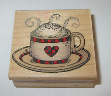 Cappuccino Cup Rubber Stamp Coffee Heart Plate Steam Retired Hero Arts