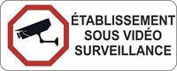 Autocollant sticker porte portail etablissement video surveillance panneau