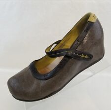 Jambu Mary Jane Muse Wedge Heels Brown Leather Slip On Womens Shoes Size 9.5M