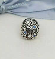 Authentic Pandora Silver Water Blue Swirls Clip Charm 790962CZB Retired NEW