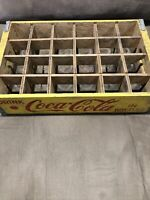 VIntage COCA-COLA Wood Crate Carrier 24 Count BOTTLE Yellow Red Collectible