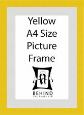 Handmade Yellow Wooden Picture Frame With Mount - A4 Size
