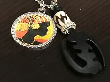 """African Woman Kente Gye Nyame Black Pattern Square 18"""" Tibetan Silver Necklace"""