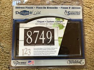 Whitehall DeSign-it Lite Aluminum Address Plaque w Arch New•Numbers Not Incuded