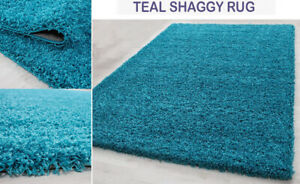 Thick Pile Large Shaggy Rugs Hallway Runner Non Slip Living Room Mat - Teal Blue