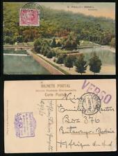 BRAZIL to RHODESIA via FUNCHAL MADEIRA 1913 PPC S PAULO...P da SILVA HANDSTAMP