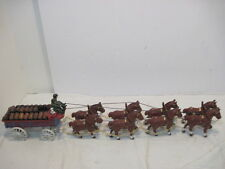 Old Cast Iron 8 Clydesdale Horse Beer Wagon 26 Dark Wood Barrels Budweiser Dog