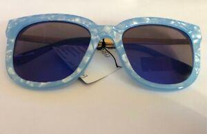 Unknow Brand High Quality Fashion Sunglasses 55-23-145 B:49 Blue & Gold Tone