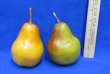 Artificial Fruit Pears Green Yellow Orange Painted Plastic Covering Lot of 2