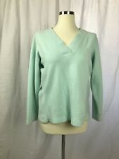 Tommy Bahama Womens L Petite Sweater Blue Green V-Neck Knit Stretch Pullover