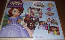 SUPERB 3 SOFIA THE FIRST 24 PIECE WOODEN PUZZLES IN WOODEN TRAY STILL SEALED MIB