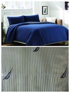 NEW NAUTICA MAYWOOD TWIN QUILT & BOAT STRIPE SHEET SET NAVY BLUE GREEN WHITE 4PC