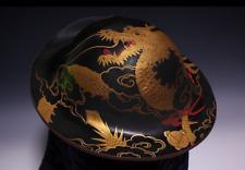 Antique Japanese Lacquer Jingasa Dragon & Clouds Gold Makie Tokugawa Edo