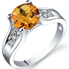 14K White Gold Citrine Diamond Cathedral Ring 1.75