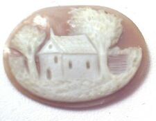 NOS Antique Hand Carved Oval Shell CAMEO Stone House & Tree Scene #N427