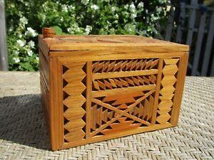 Vintage Folk Art Intricate Inlaid Wooden Covered Trinket Box