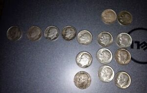 15 Roosevelt Dimes 1951-1964 (most '64) 90% Silver lot mixed dates & mint marks