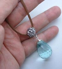 Faceted Aqua Blue Quart Sterling Silver Pendant W. Suede Leather  Necklace A0429