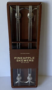 NEW Set Of 4 WILLIAMS SONOMA Pineapple Double Skewers Stainless Steel BBQ 15""