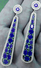 NATURAL PRECIOUS GEMSTONES BLUE SAPPHIRE  LONG EARRINGS IN 92.5 STERLING SILVER