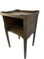 Antique Cubby Lamp End Table Phone Stand Vintage Accent Wood 7551