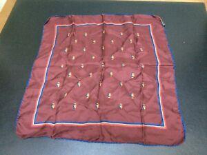 Vtg Handcraft Inc 100% Silk Handkerchief Pocket Square Burgandy w/Crests Italy