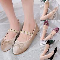 Women Bowknot Rivet Ballerina Ballet Dolly Pumps Lady Slip On Flat Loafers Shoes