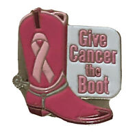Give Cancer The Boot Pin Breast Cancer Awareness Cowboy Pink Lapel Pin A461