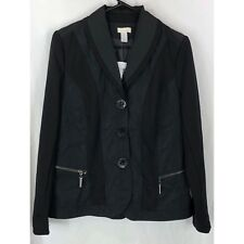 Chico's Novelty Knit Berlin Solid black zip pockets button front jacket 0 S NEW
