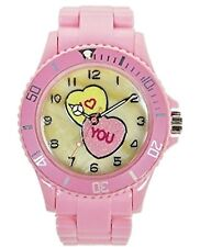Girls Pink Candy Hearts I Love You Watch Mother of Pearl Dial USPS Collectible