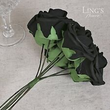 Black Real Looking Roses Artificial Flowers 50pcs Bouquets Centerpieces