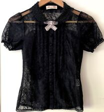 """RRP$329 ALANNAH HILL """"where's my treat?"""" black lace embellished blouse top 6 XS"""