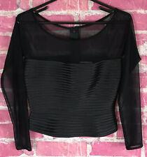 TADASHI Shoji Sheer Mesh Blouse Back Zipper Women's Size 6 UK