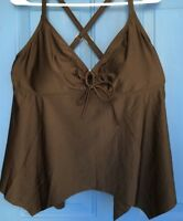 NWT Swimsuits for All TROPI CULTURE Black Tankini Swim Top Sz 14 Tropiculture