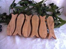 Olivenholz Fisch Untersetzer Topfuntersetzer lang Handarbeit Baum Holz