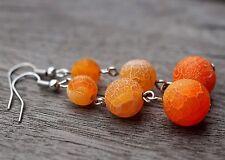 Orange Frosted Agate Gemstone Bohemian Ethnic Boho Festival Earrings