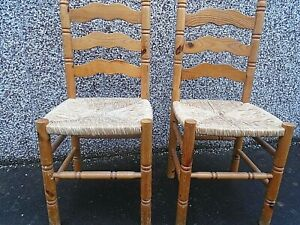 SET OF FOUR PINE DINING CHAIRS WITH SEA-GRASS SEATS