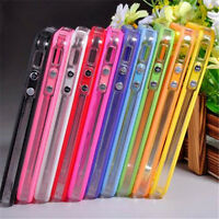 Black-Clear Bumper Frame TPU Silicone Case Cover for iPhone 4 4S W/Side Button